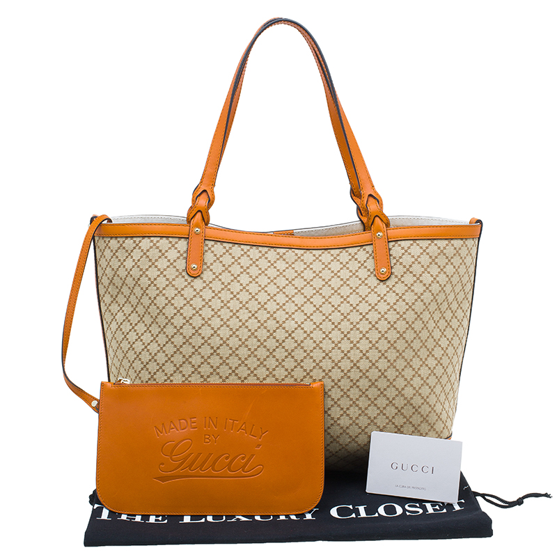 Gucci Orange Diamante Canvas Medium Craft Tote Bag