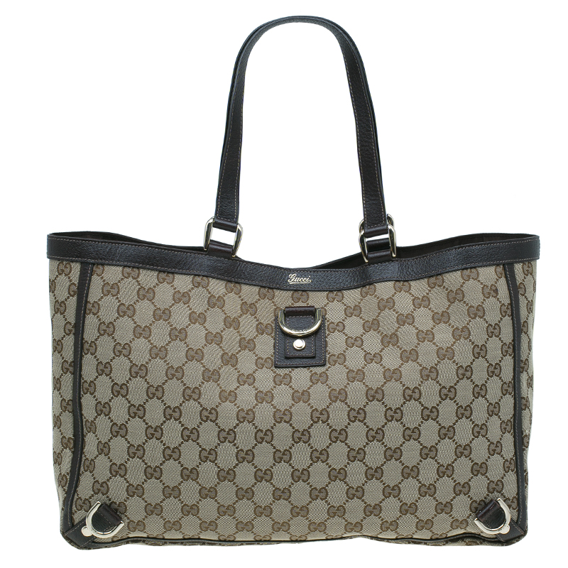 5960517b3166 Buy Gucci Beige GG Canvas Abbey Tote Bag 44313 at best price | TLC