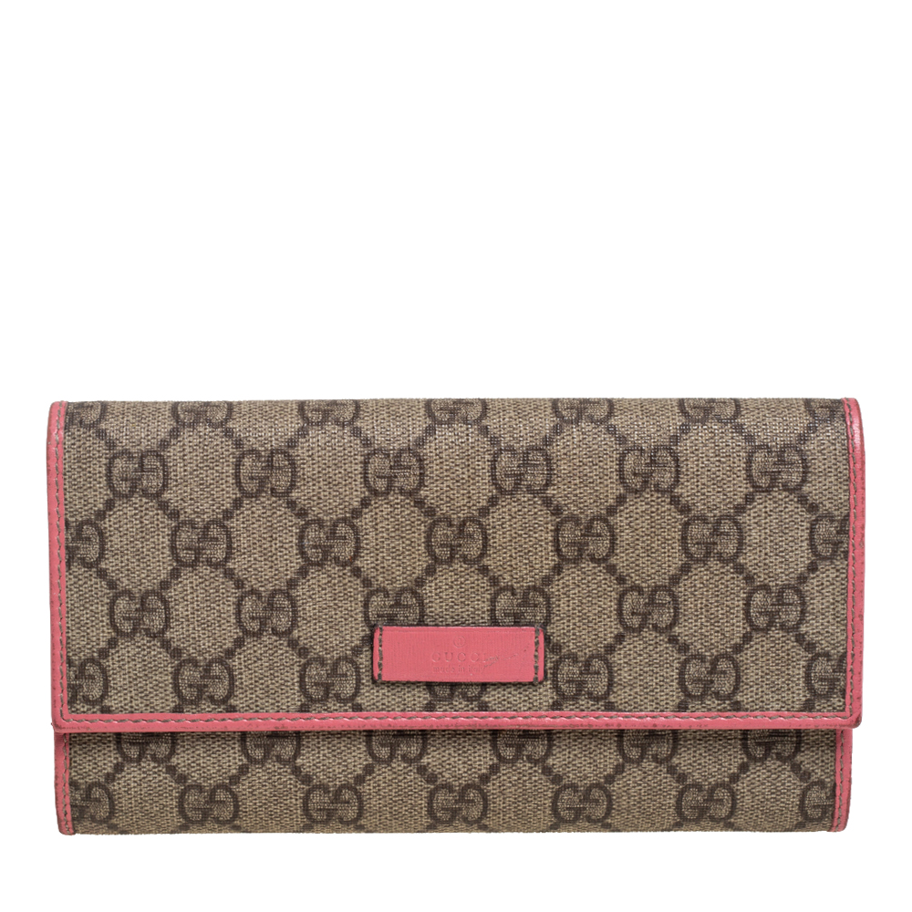 Pre-owned Gucci Beige/pink Gg Supreme Canvas And Leather Continental Wallet