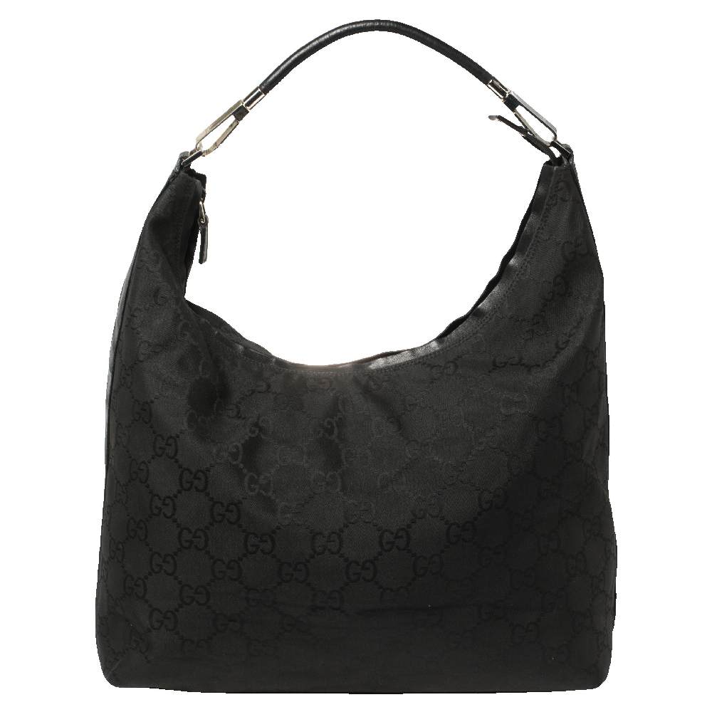 Pre-owned Gucci Black Gg Nylon And Leather Hobo