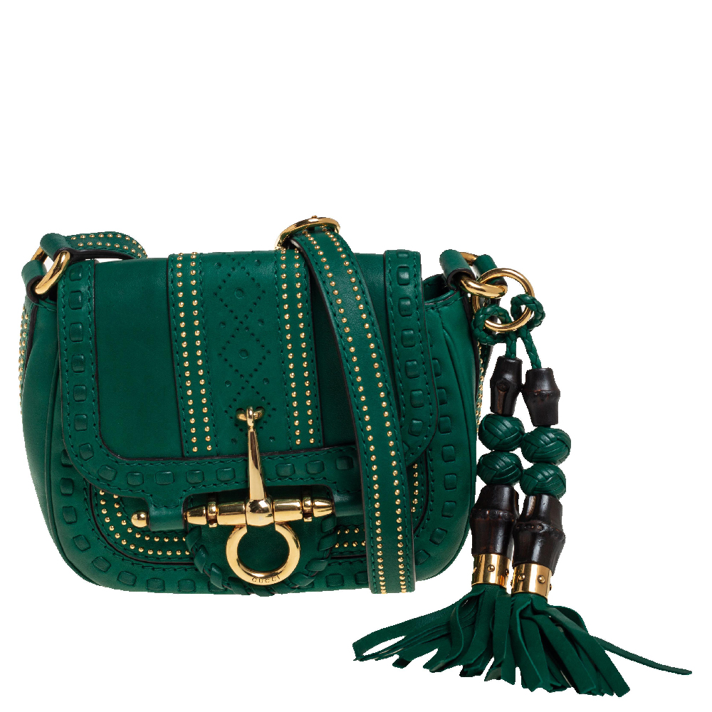 Pre-owned Gucci Green Leather Small Snaffle Bit Shoulder Bag