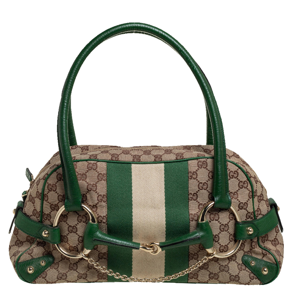 Pre-owned Gucci Beige/green Gg Canvas And Leather Large Horsebit Chain Satchel