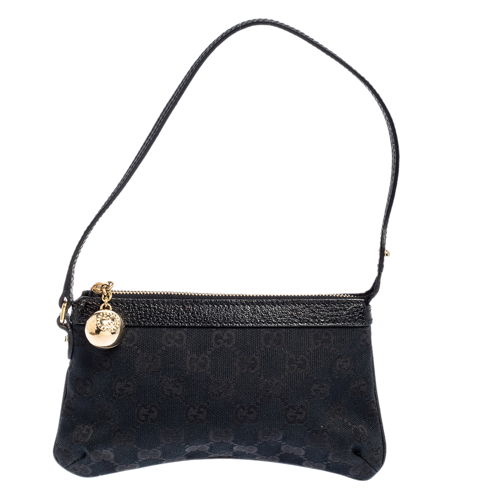 Pre-owned Gucci Black Gg Canvas And Leather Pochette