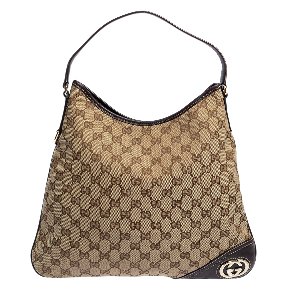 Pre-owned Gucci Brown/beige Gg Canvas And Leather Trim New Britt Hobo