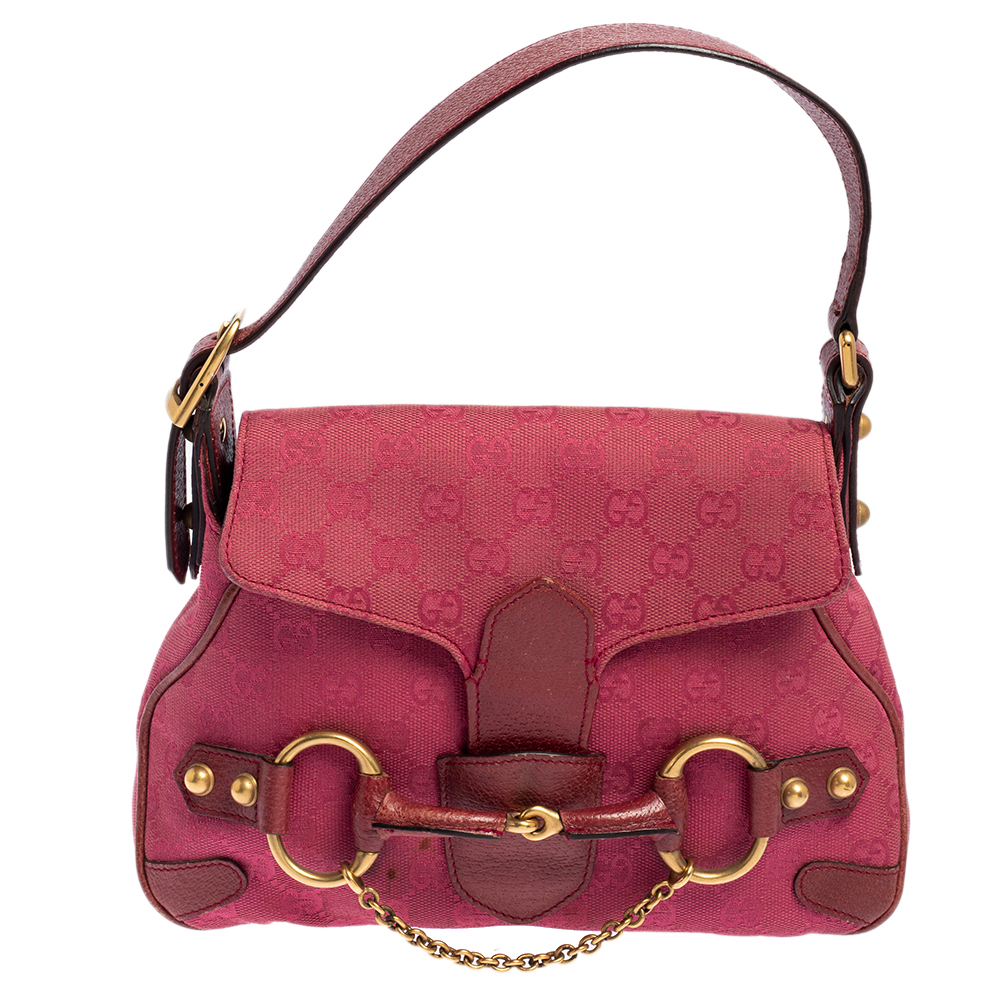 Pre-owned Gucci Fuchsia Gg Canvas And Leather Small Horsebit Satchel In Pink