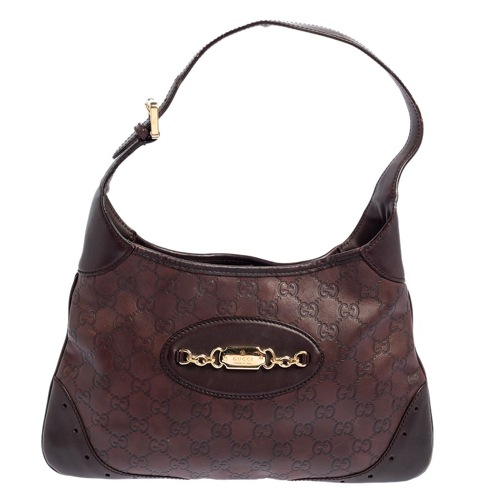 Pre-owned Gucci Ssima Leather Hobo In Brown