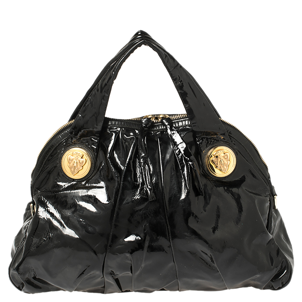 Pre-owned Gucci Black Patent Leather Large Hysteria Tote