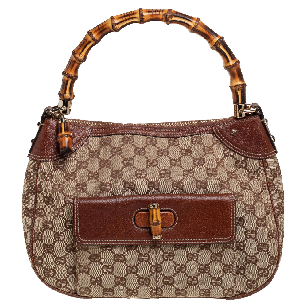 Pre-owned Gucci Beige/brown Gg Canvas And Leather Bamboo Hobo
