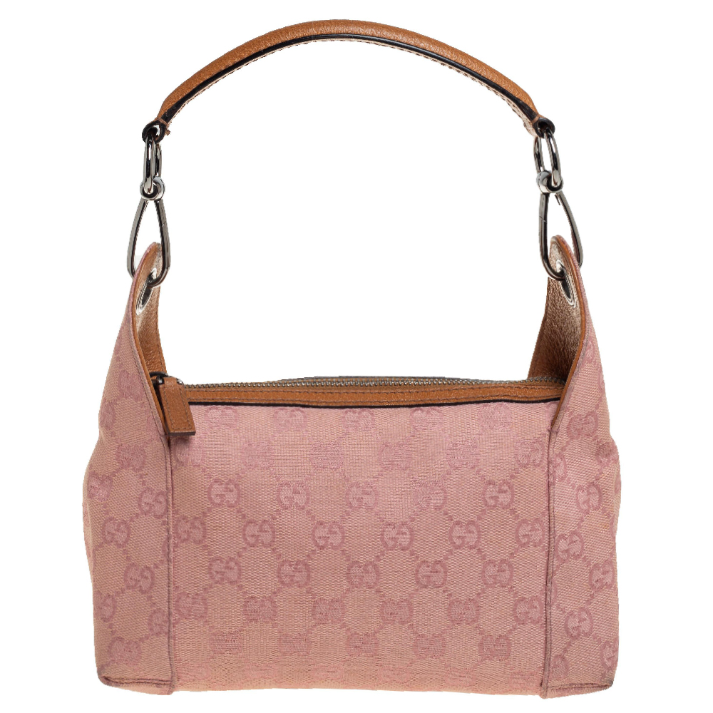 Pre-owned Gucci Pink Gg Canvas And Leather Bag