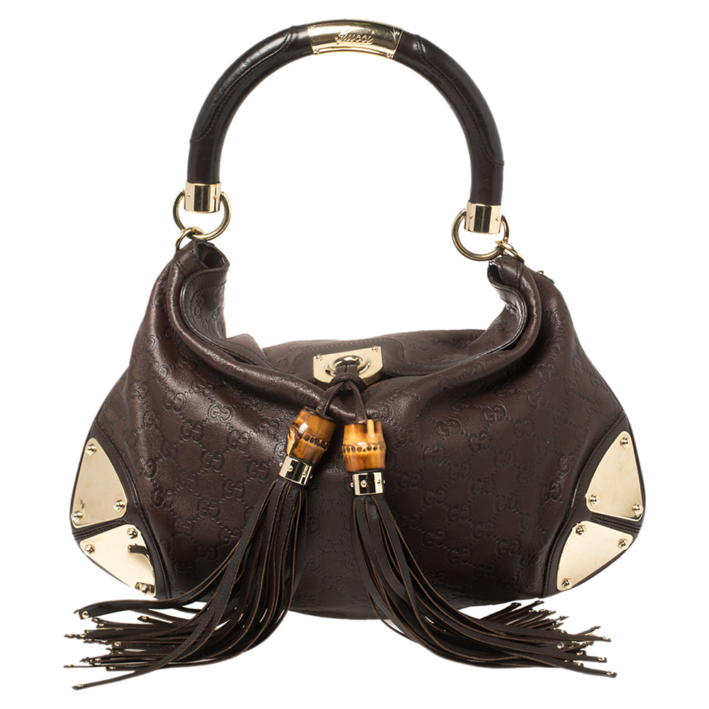 Pre-owned Gucci Ssima Leather Medium Babouska Indy Hobo In Brown