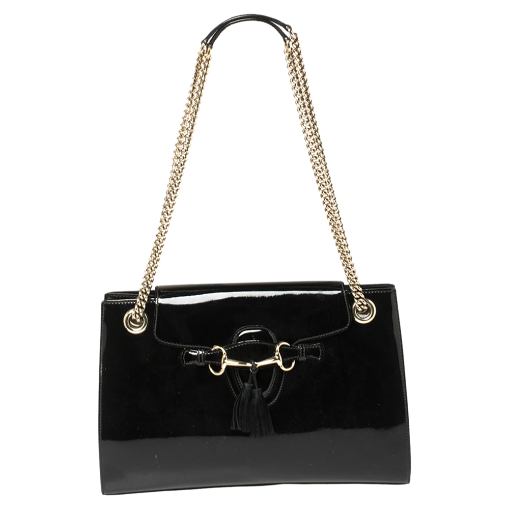 Pre-owned Gucci Black Patent Leather Large Emily Chain Shoulder Bag