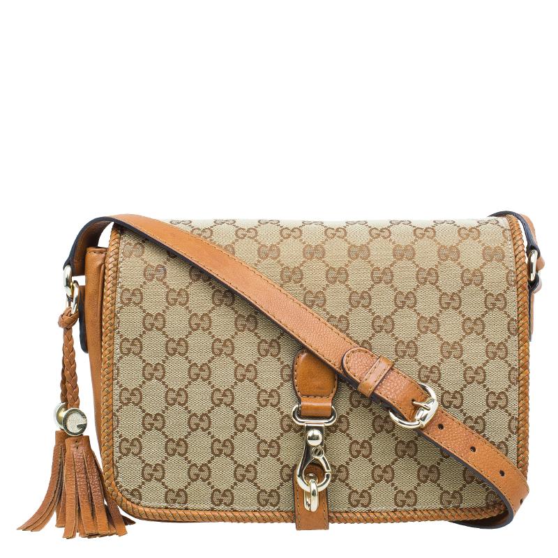 bda605c0bf33 ... Gucci Beige/Brown GG Canvas Medium Marrakech Tassel Messenger Bag.  nextprev. prevnext