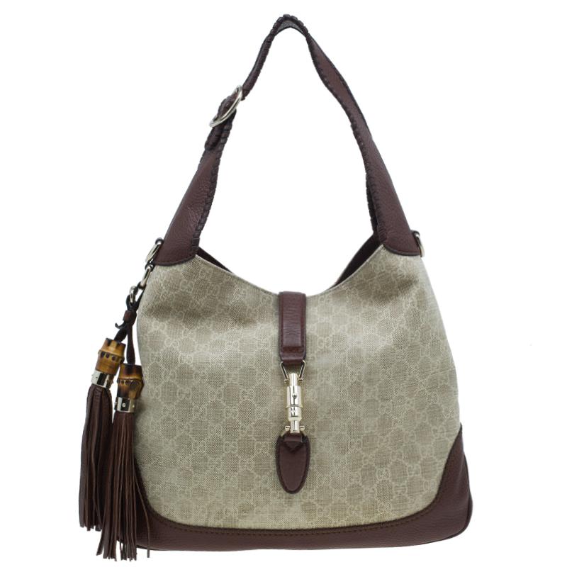 17813acb35c2 ... Gucci Monogram Canvas Medium Jackie Hobo Shoulder Bag. nextprev.  prevnext