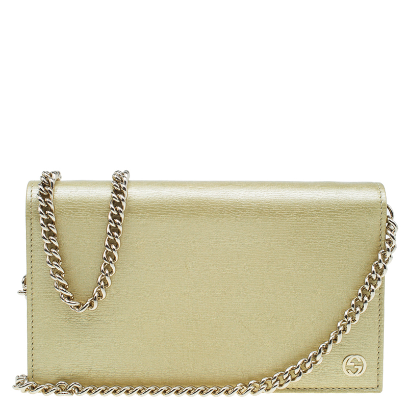 bfdd983c056 Gucci Gold Metallic Leather Betty Wallet On Chain 52259 At Best