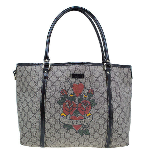 59586afb30d8 Buy Gucci Monogram Canvas Rose Heart Tattoo Tote 5763 at best price | TLC