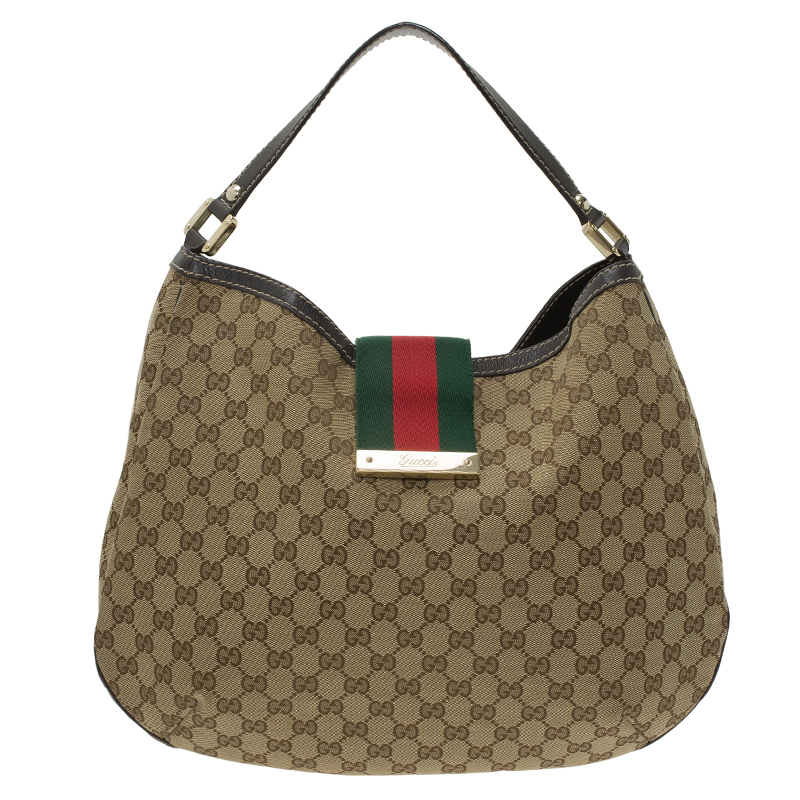 79550dd03 Buy Gucci Beige GG Canvas Large New Ladies Vintage Web Hobo 58311 at best  price | TLC