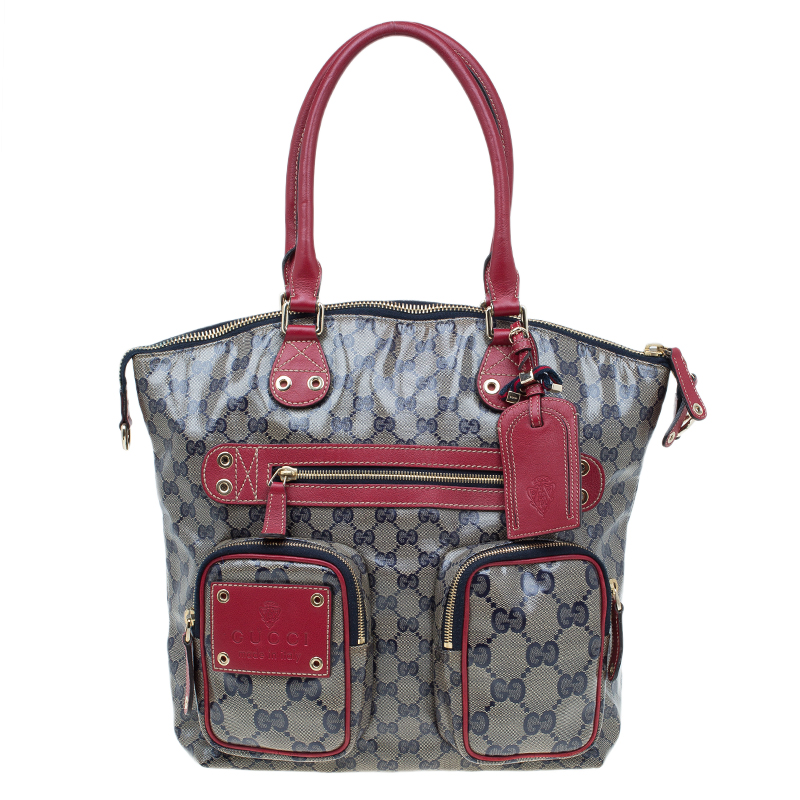 6c80f4580c3d Buy Gucci Blue/Red GG Crystal Coated Canvas Medium Voyager Tote ...