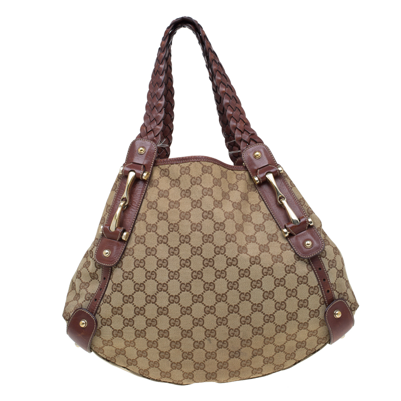 d15fafe39c1a92 Buy Gucci Beige/Brown GG Canvas Medium Horsebit Pelham Shoulder Bag 59437  at best price | TLC