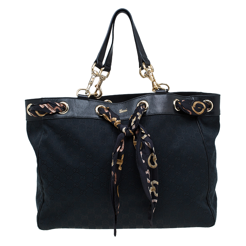 e68c26150d9 Buy Gucci Black GG Canvas Large Positano Scarf Tote 59514 at best ...