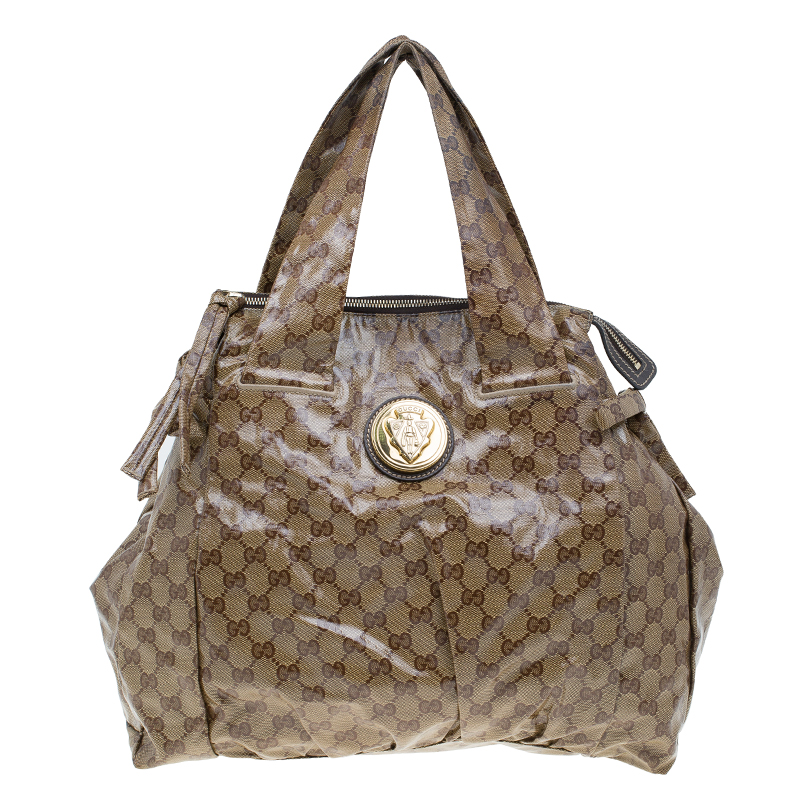 a55b5633dfad ... Gucci Beige GG Crystal Coated Canvas Large Hysteria Tote. nextprev.  prevnext