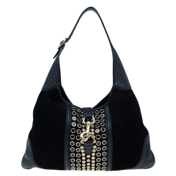 Buy Gucci Black Suede Embellished Bouvier Jackie O Bag Hobo 6988 at best  price  ddb27f2b39c04