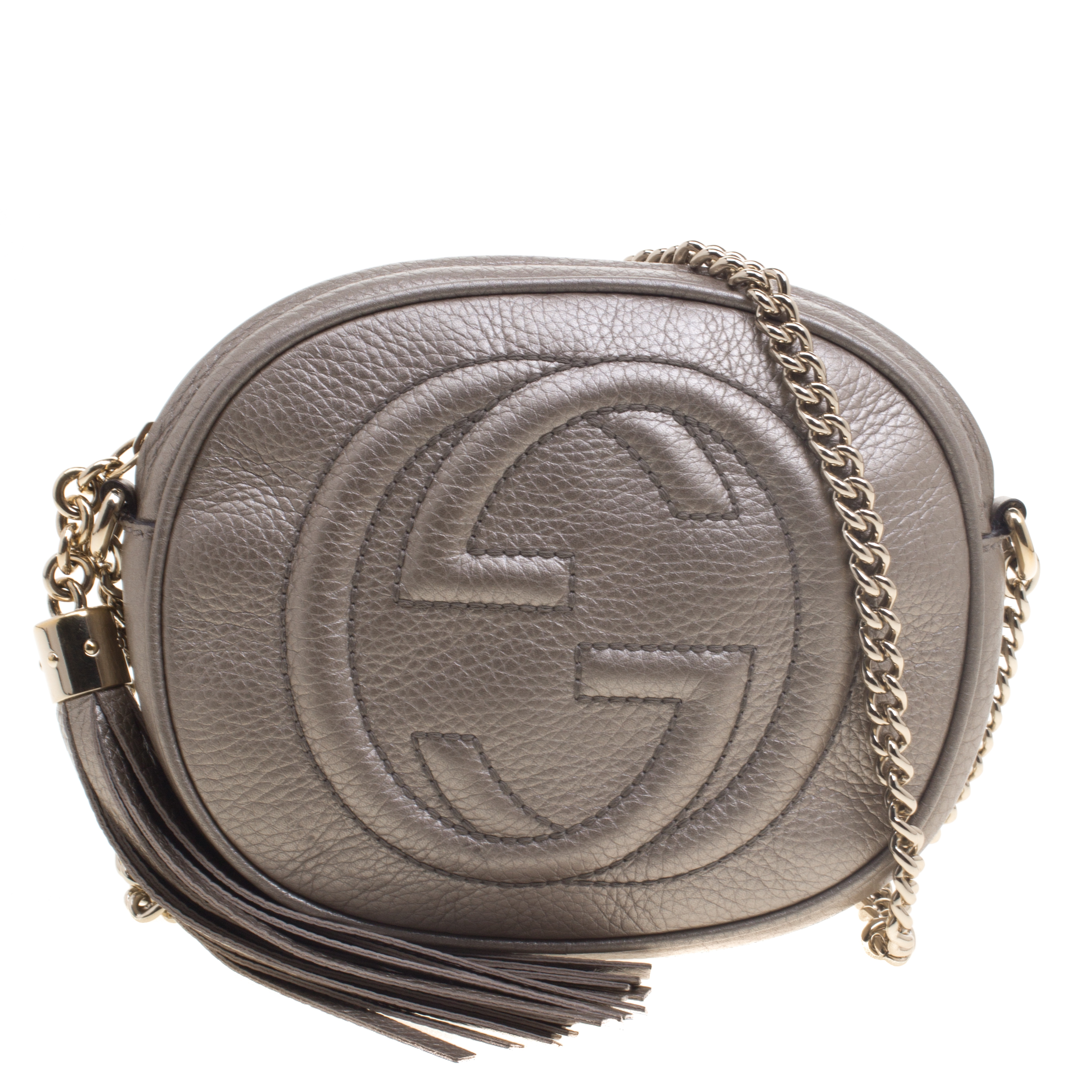5c05a95dfcca Buy Gucci Beige Iridescent Leather Mini Soho Disco Chain Shoulder ...
