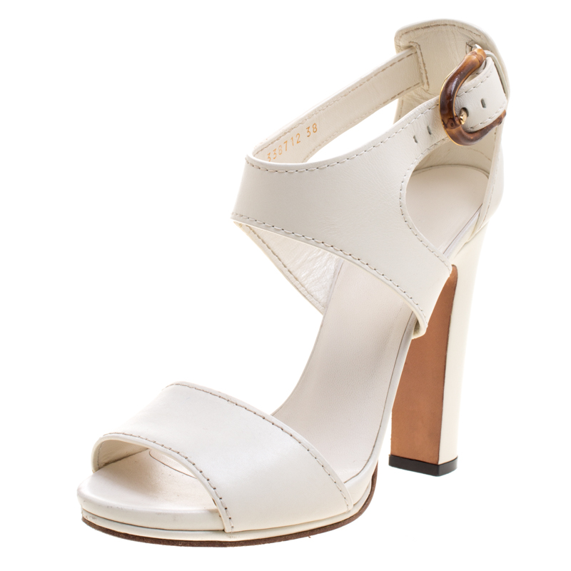 1884c47048da Buy Gucci White Leather Lifford Bamboo Buckle Block Heel Sandals ...