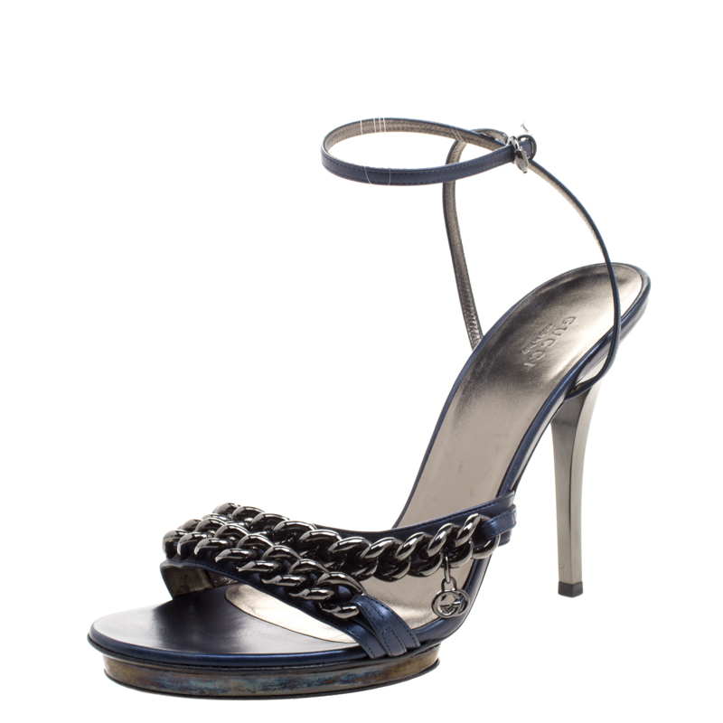dbe2d08768b ... Gucci Blue Leather Chain Detail Strappy Ankle Strap Sandals Size 41.  nextprev. prevnext