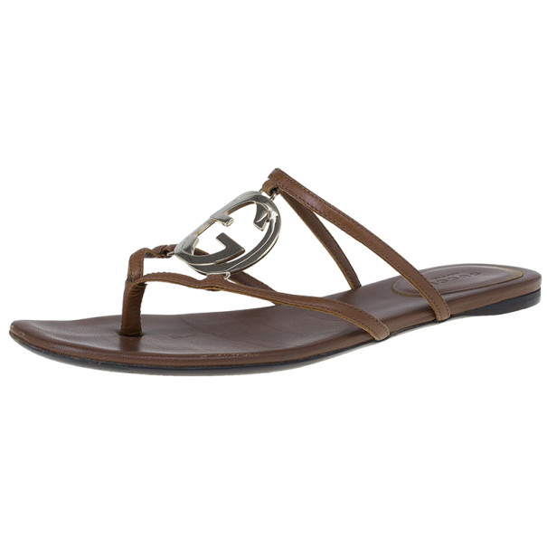 5ad1f765e Buy Gucci Brown Leather GG Cage Flat Thong Sandals Size 37.5 11529 at best  price