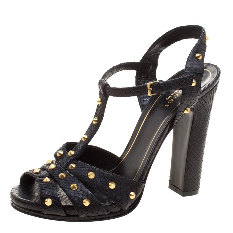 fc6ca867d Buy Gucci Black Studded Python Leather T-Strap Slingback Sandals ...