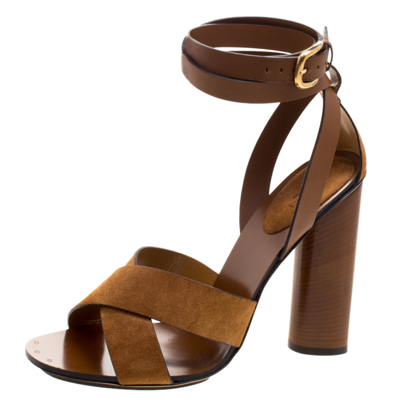 92e69346873 ... Gucci Brown Suede and Leather Candy Cross Ankle Wrap Sandals Size 40.  nextprev. prevnext