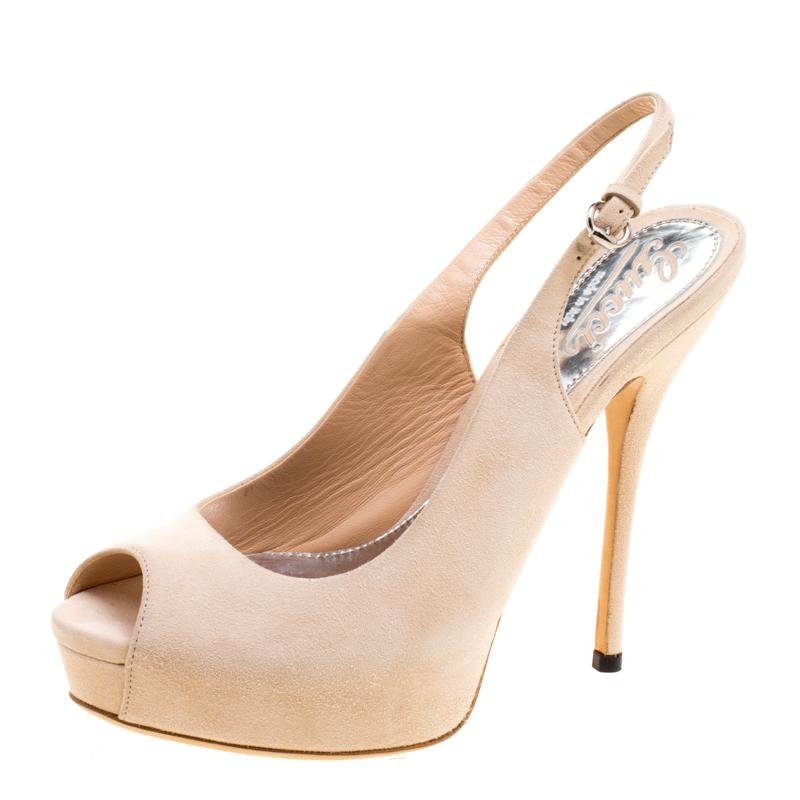 a01bdb400ddc Buy Gucci Beige Suede Sofia Peep Toe Platform Slingback Sandals Size ...