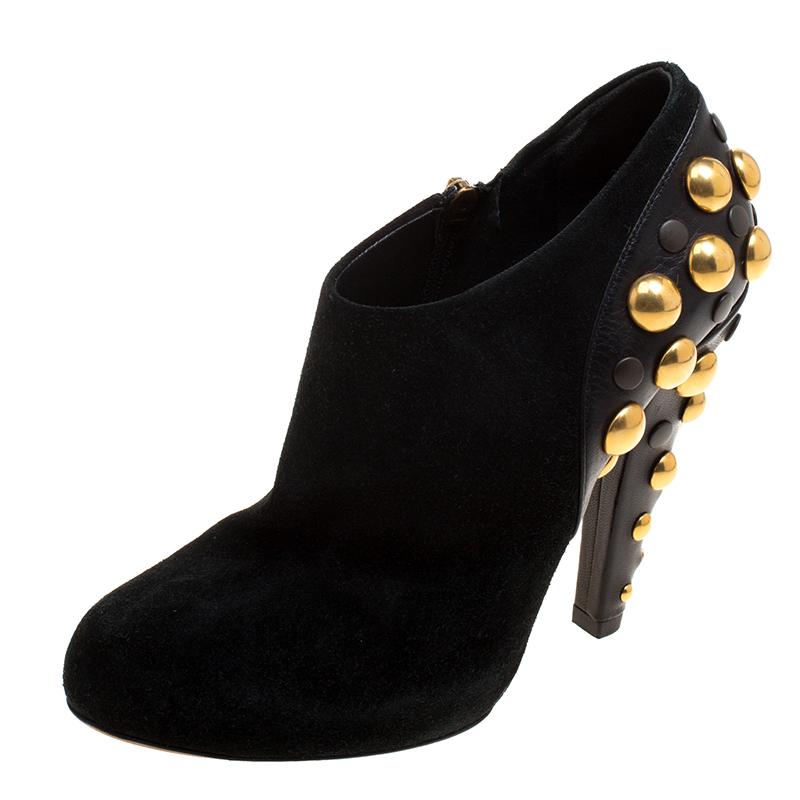 770a275594c2c Gucci Black Suede Vintage Babouska Studded Heel Ankle Boots Size 37.5