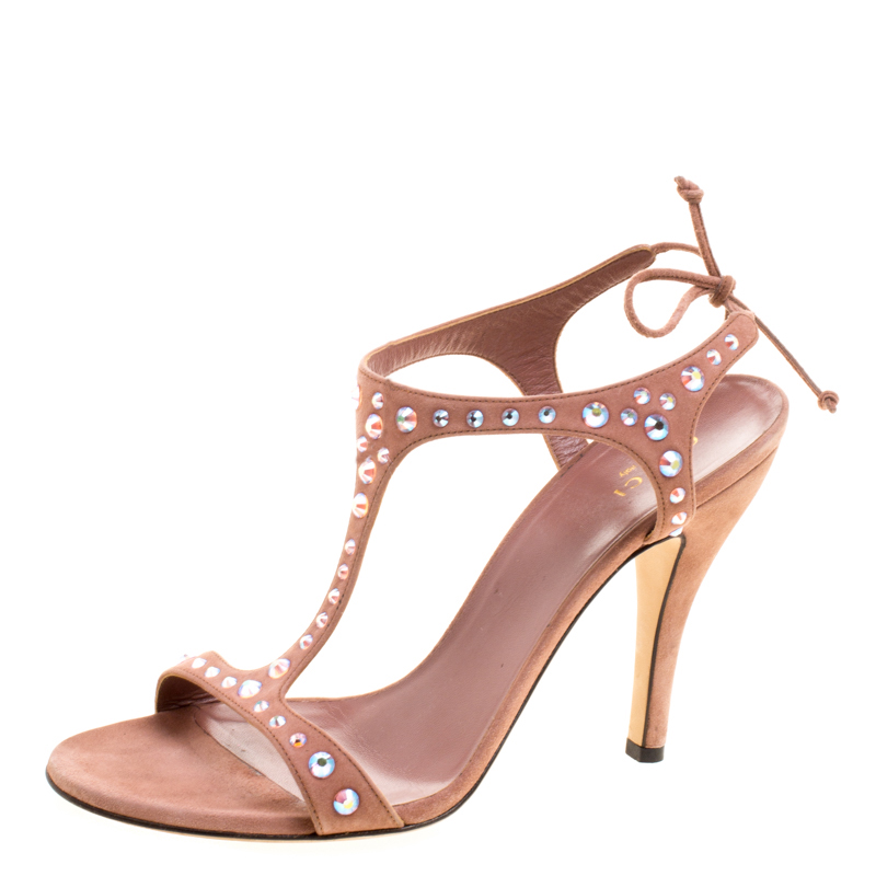 dc2182151970 Buy Gucci Salmon Pink Crystal Embellished Suede T-Strap Sandals Size ...