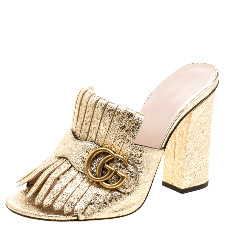 ee32ede9e4606 Buy Gucci Metallic Gold Foil Leather GG Marmont Fringe Mules Size 39 ...