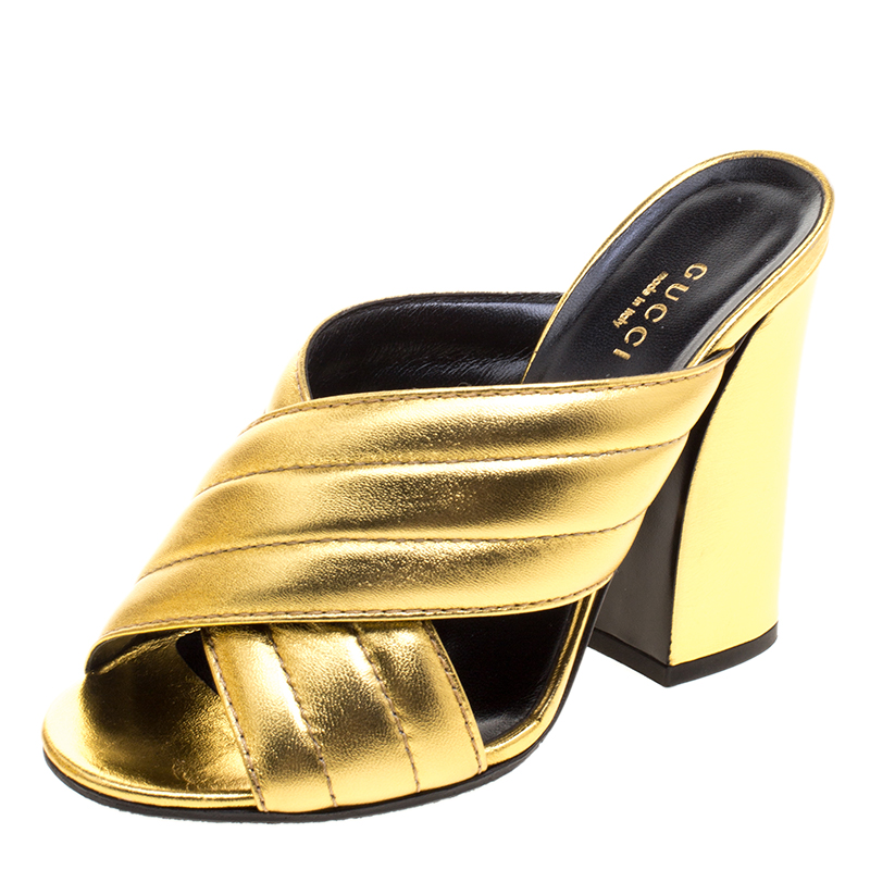 ce27b1c103b5 Buy Gucci Metallic Gold Leather Sylvia Crossover Mules Size 37 ...