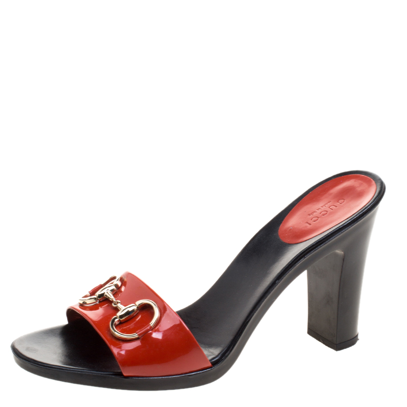 a99af6893c2 Buy Gucci Red Patent Leather Horsebit Mules Size 40.5 121338 at best ...