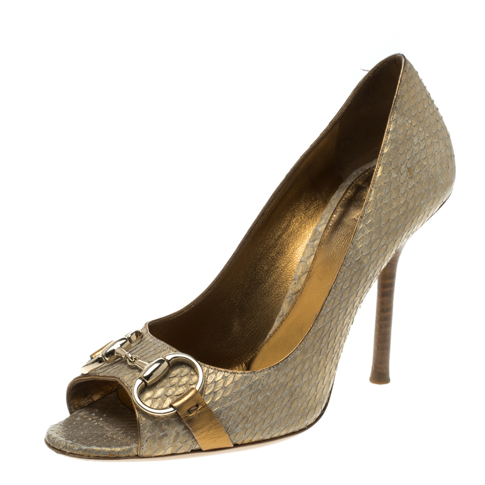 f8c06a33966 Buy Gucci Gold Python Horsebit Open Toe Pumps Size 36.5 123008 at ...
