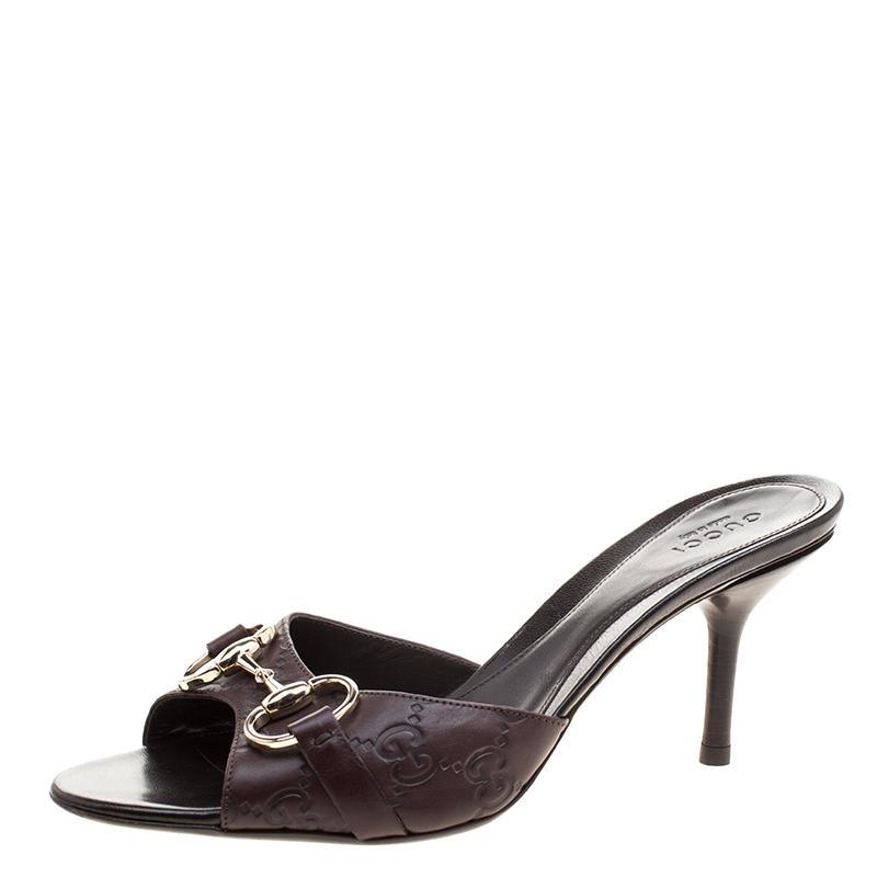 4b1921a516e ... Gucci Brown Guccissima Leather Horsebit Slides Size 37. nextprev.  prevnext