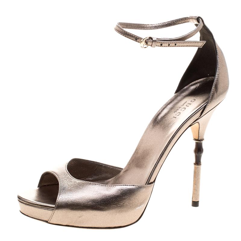 05541b182dd ... Bronze Leather Roma Bamboo Heel Ankle Strap Sandals Size 38. nextprev.  prevnext