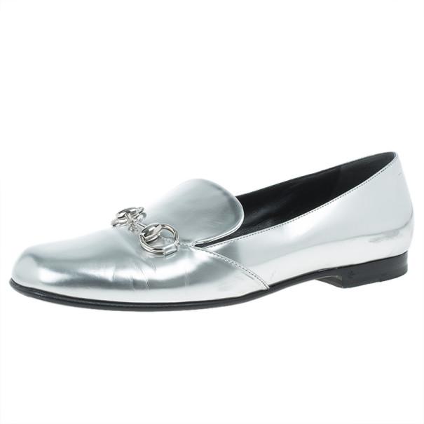 c48f2a03460 ... Gucci Silver Metallic Leather Horsebit Loafers Size 37.5. nextprev.  prevnext