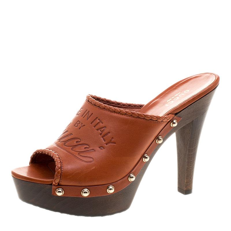 5ebb3eb17e9c ... Gucci Brown Leather Craft Platform Peep Toe Mules Size 36.5. nextprev.  prevnext