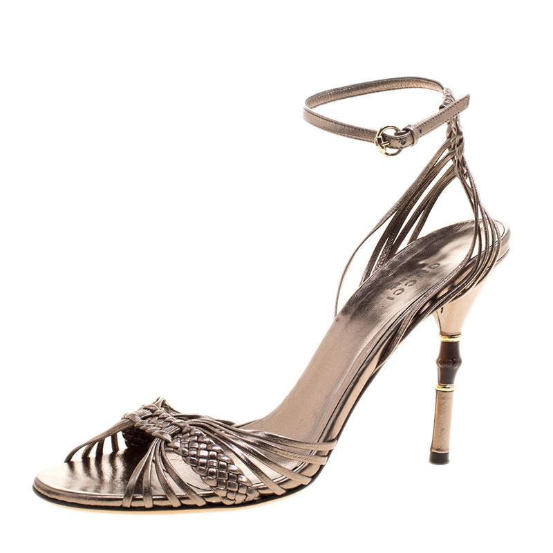 d84d7e29a98 ... Gucci Metallic Grey Braided Leather Bamboo Heel Open Toe Sandals Size  37.5. nextprev. prevnext
