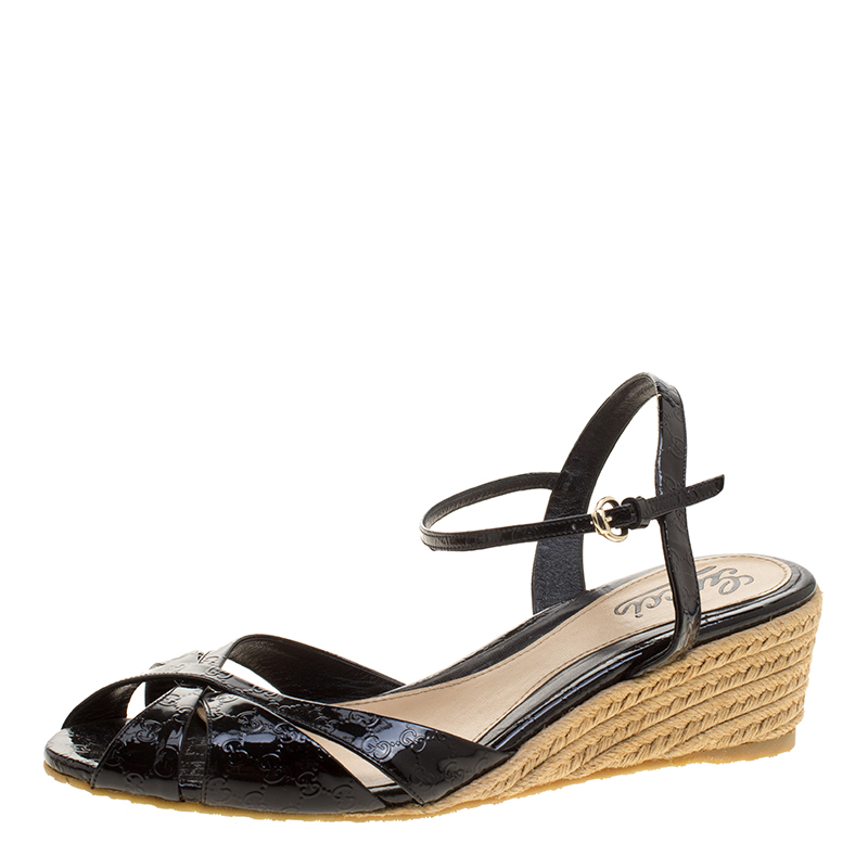 907020727adc ... Gucci Black Micro Guccissima Patent Leather Penelope Espadrille Wedge  Sandals Size 40. nextprev. prevnext