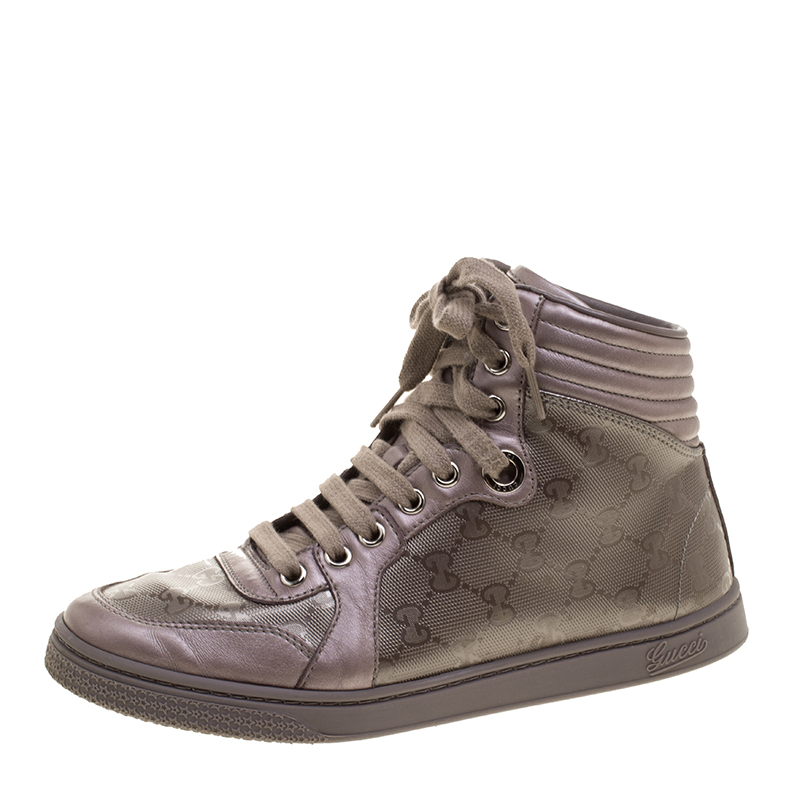 4020c968016 Buy Gucci Lilac GG Imprime Canvas Coda High Top Sneakers Size 36 ...