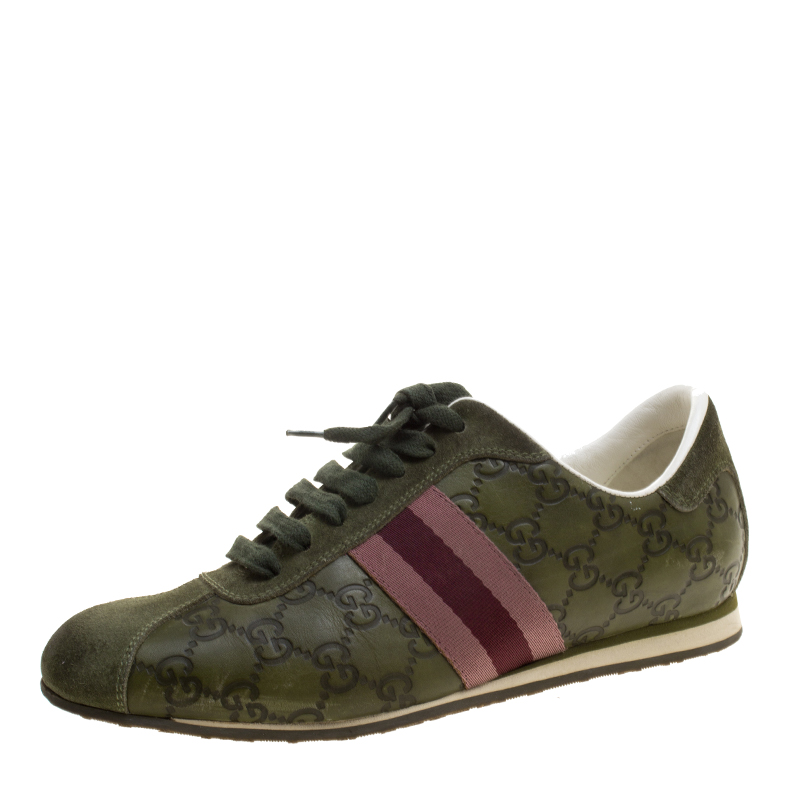 b94359ea0 Buy Gucci Green Guccissima Leather Web Detail Low Top Sneakers Size ...