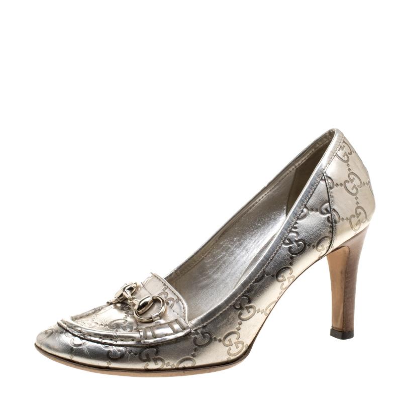 180c4642a29 ... Gucci Metallic Silver Guccissima Leather Horsebit Loafer Pumps Size  38.5. nextprev. prevnext