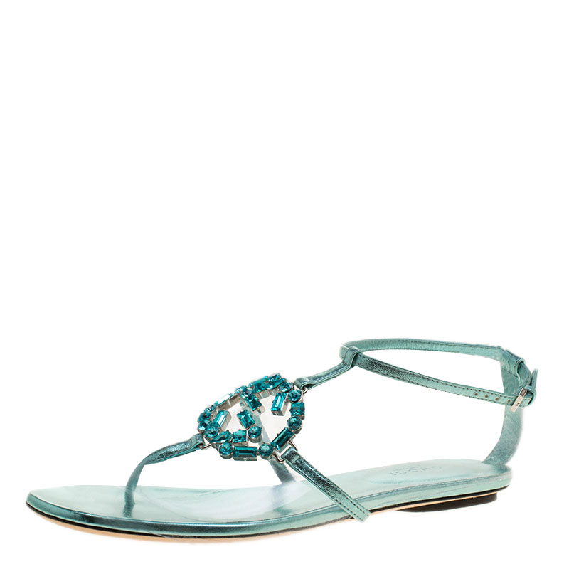 5979d9e349b9 ... Gucci Turquoise Leather GG Interlocking Crystal Ankle Strap Sandals  Size 36. nextprev. prevnext