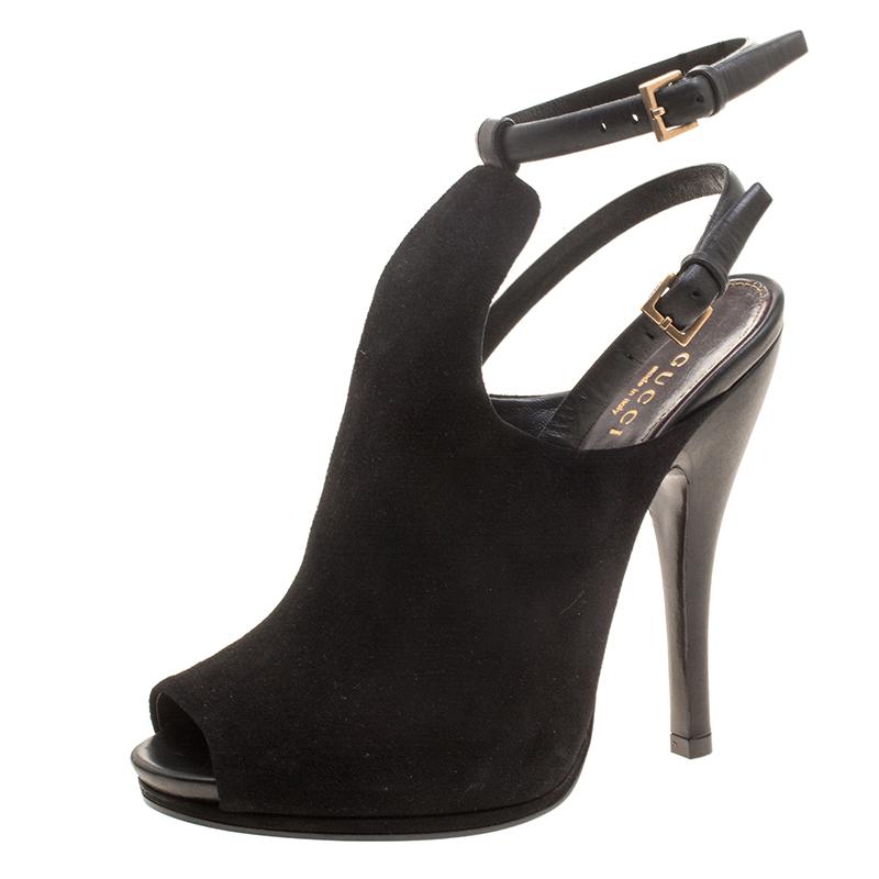 Gucci Black Suede Jane Peep Toe Ankle