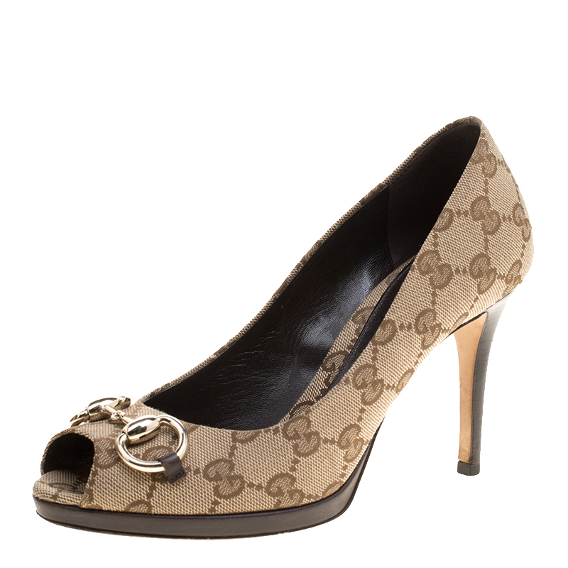 a37cbe905979 Buy Gucci Beige GG Canvas New Hollywood Horsebit Peep Toe Pumps Size ...